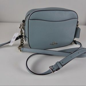 Coach Pebbled Leather Camera Bag Chain Purse NWT